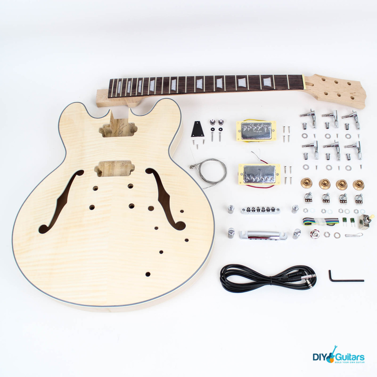 gibson 335 diy electric guitar kit chrome 11 1200x1200 gibson es 335 style semi hollow diy guitars Gibson Switch Wiring at mr168.co