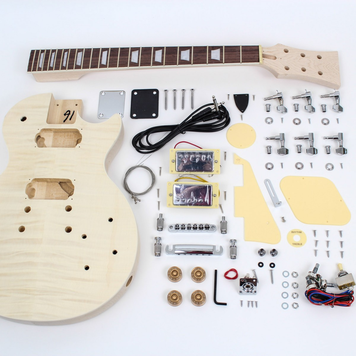 Les Paul Style Guitar Kit Flame Maple Diy Guitars Le Wiring