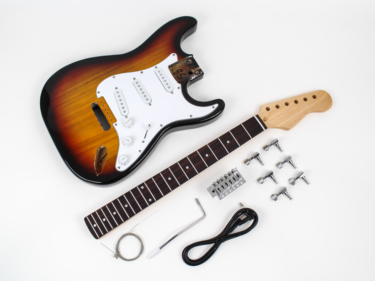 fender stratocaster diy guitar kit prefinished sunburst. Black Bedroom Furniture Sets. Home Design Ideas