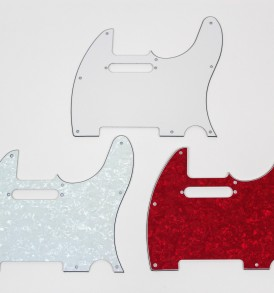 Fender Telecaster Pickguards; white, white pearloid, red pearloid