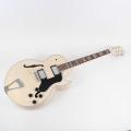 Full hollow body DIY electric guitar kit chrome hardware