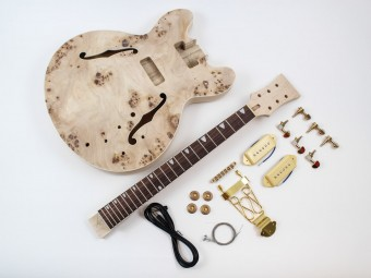 Archtop Semi-hollow body guitar kit with bird's eye maple top